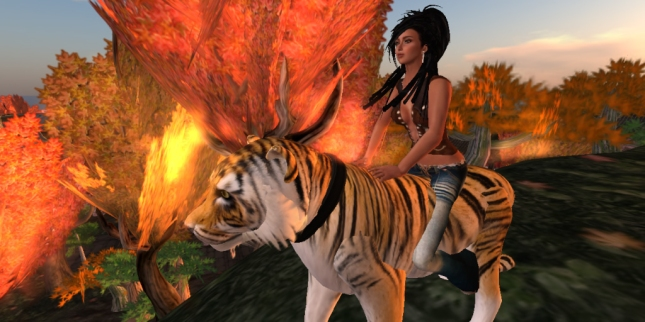 Xandria riding Tiger in front of house_003